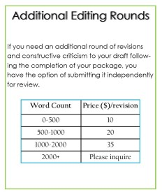 additional editing pricing